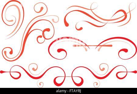 vector illustration. set of elements for design. decorative borders - Stock Photo