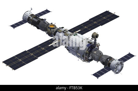 Space Station And Spacecrafts. 3D Model Over White Background. - Stock Photo