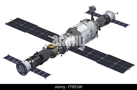 Spacecrafts And Space Station. 3D Model Over White Background. - Stock Photo