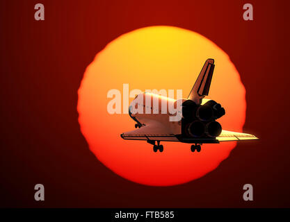 Space Shuttle Landing On The Background Of Sunset - Stock Photo