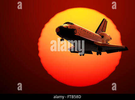 Space Shuttle Landing On The Background Of Sunrise - Stock Photo
