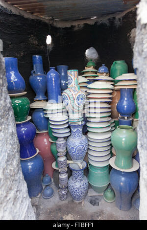 Pottery stacked in kiln after being fired, Fes, Morocco - Stock Photo
