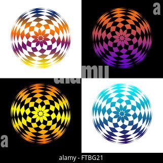 4 multicolored abstract round shapes with funky colors on white and black background - Stock Photo