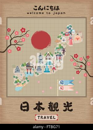 Japanese Culture Map Poster Vector Illustration Design Stock - Japan map poster