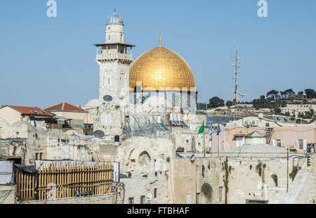 Dome of the Rock shrine on the Temple Mount, Muslim Quarter of the Old City of Jerusalem, Israel - Stock Photo