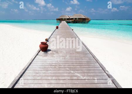 Meeru Island water villas,  Maldives - Stock Photo