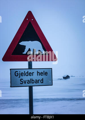 polar bear warning sign Longyearbyen, Norway, Spitsbergen, Svalbard - Stock Photo