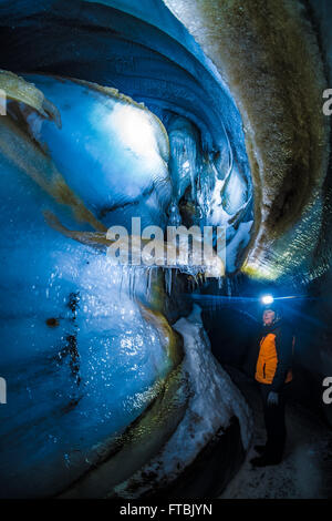 Longyearbreen ice cave, Spitsbergen, Svalbard - Stock Photo