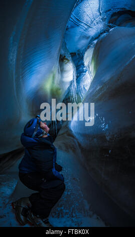 Larsbreen ice cave, Spitsbergen, Svalbard - Stock Photo