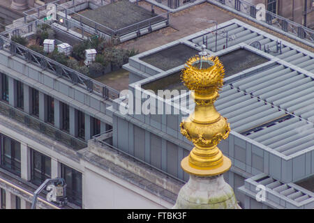 Top of the Monument to the Great Fire in London. - Stock Photo