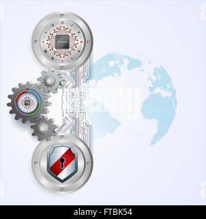 Abstract design for industry,technology background with chip attached to 3d gears, shields and processor chip on - Stock Photo