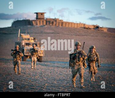 U.S. Army paratroopers with the 82nd Airborne Division during a clearing operations April 30, 2012  mission January - Stock Photo