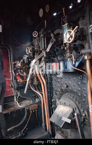 Whitehead, Co Antrim,UK 28th March 2016 . The firbox and controls on the Merlin Steam Engine - Stock Photo