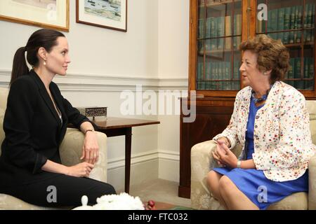 United Kingdom Foreign Office Minister Baroness Anelay meets with actress and U.N Special Envoy Angelina Jolie Pitt - Stock Photo