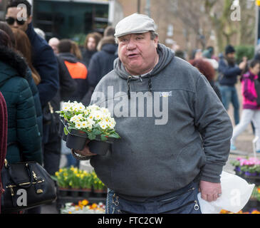 market trader, columbia road flower market  stall holder - Stock Photo