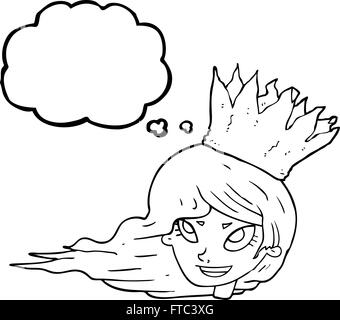 freehand drawn thought bubble cartoon woman with blowing hair - Stock Photo