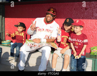 March 26, 2016 Los Angeles, CA..USC outfielder (28) Timmy Robinson smiles with fans after a non conference game - Stock Photo