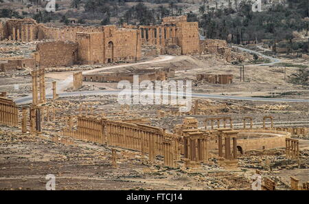 Palmyria, Syria. 26th Mar, 2016. A view of Palmyra, a UNESCO world heritage site. The Syrian Government's army is - Stock Photo