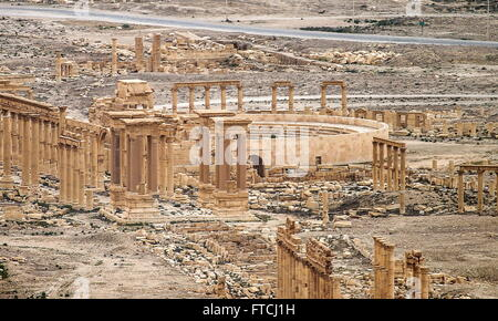 Palmyria, Syria. 26th Mar, 2016. An elevated view of Palmyra, a UNESCO world heritage site. The Syrian Government's - Stock Photo