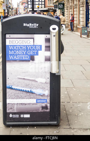 Big Issue seller, and Controversial anti begging adverts by Nottingham City Council (Labour) in conjunction with - Stock Photo