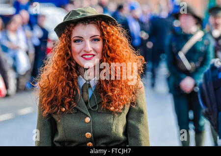 Belfast, Northern Ireland. 27 Mar 2016 - Connlaith Pickering wearing a reproduction military uniform from the Irish - Stock Photo