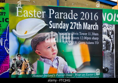 Belfast, Northern Ireland. 27 Mar 2016 - Mural on the Falls road advertises the Easter Rising centenary celebration - Stock Photo