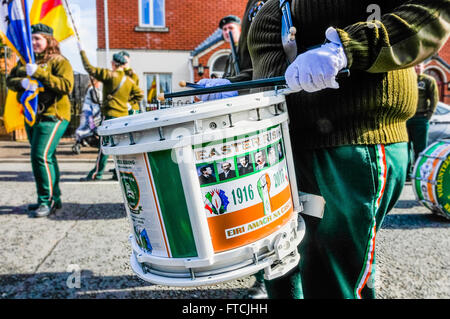 Belfast, Northern Ireland. 27 Mar 2016 - Scottish drummer at the Easter Rising centenary celebration parade. Credit: - Stock Photo