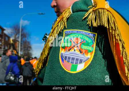 Belfast, Northern Ireland. 27 Mar 2016 - Arm badge from the Rockland County (New York) AOH band at the Easter Rising - Stock Photo