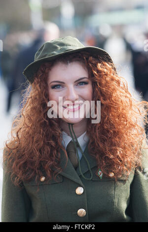 Falls Road, Belfast,UK 27th March 2016 Connlaith Pickering from Belfast dressed in Irish Rebellion Army fatigues - Stock Photo