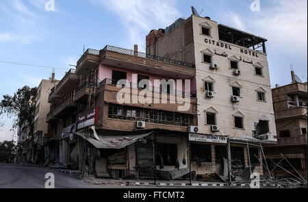 Palmyria, Syria. 26th Mar, 2016. Damaged buildings in modern quarters of Palmyra. On 27 March 2016 Palmyra was liberated - Stock Photo