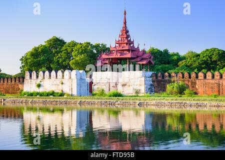 Mandalay, Myanmar royal palace tower and moat. - Stock Photo