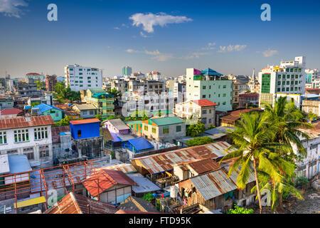 Mandalay, Myanmar downtown city skyline. - Stock Photo