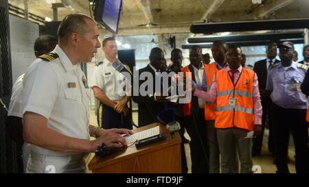 150303-N-RB579-042 LUANDA, Angola (March 3, 2015) Africa Partnership Station 2015 mission commander Cmdr. Matthew - Stock Photo