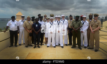 150304-N-RB579-183 LUANDA, Angola (March 4, 2015) Sailors embarked aboard the Military Sealift Command's joint high - Stock Photo