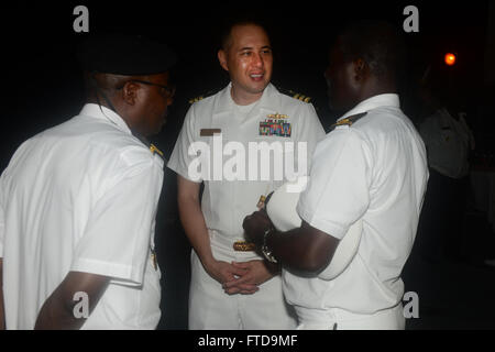 150304-N-RB579-219 LUANDA, Angola (March 4, 2015) Cmdr. Matthew Flemming, Africa Partnership Station mission commander, - Stock Photo