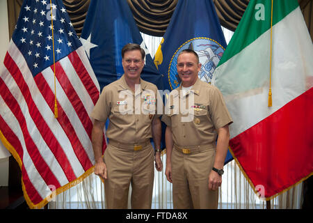 150320-N-OT964-065 NAPLES, Italy (March 20, 2015) Master Chief Petty Officer of the Navy (MCPON) Mike Stevens meets with Adm. Mark Ferguson, Commander, U.S. Naval Forces Europe-Africa on board Naval Support Activity Naples. (U.S. Navy photo by Mass Communication Specialist 1st Class Martin L. Carey/Released)