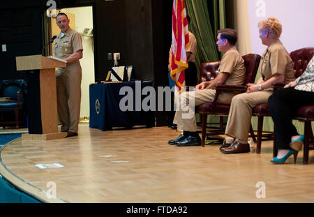 150320-N-OT964-211 NAPLES, Italy (March 20, 2015) Master Chief Petty Officer of the Navy (MCPON) Mike Stevens delivers remarks during U.S. Naval Forces Europe-Africa Fleet Master Chief JoAnn Ortloff's retirement ceremony. Ortloff is retiring after 33 years of service to the Navy. (U.S. Navy photo by Mass Communication Specialist 1st Class Martin L. Carey/Released)