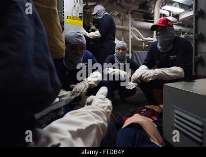 150403-N-TP976-015 MEDITERRANEAN SEA (April 3, 2015) -- Chief Hospital Corpsman Morgan Jones, from San Antonio, - Stock Photo