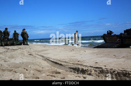 150609-M-OM669-107 SWEDEN (June 9, 2015) A color sergeant with the British Royal Navy directs a Royal Navy Landing - Stock Photo