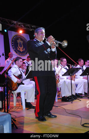 150614-N-ZZ999-237 FROSINONE, Italy (June 14, 2015) Italian service member Salvatore Curcio plays a solo during - Stock Photo