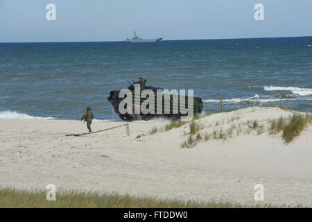 150617-N-HX127-250 Ustka, Poland (June 17, 2015) -- A Marine from Sweden guides a US Marine Corps amphibious assault - Stock Photo