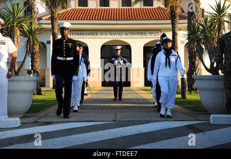 150702-N-UI568-064 NAVAL STATION ROTA, Spain (July 2, 2015) - Color guard detail assigned to Commander, U.S. Naval - Stock Photo