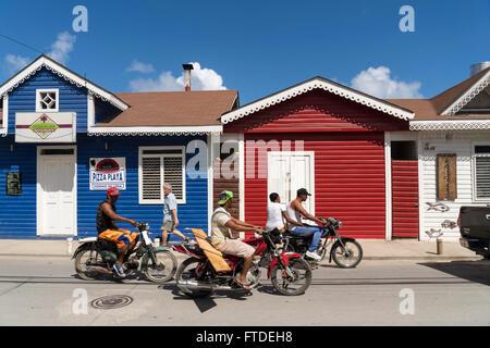 coulurful painted Pueblo de los Pescadores, Las Terrenas, Samana,  Dominican Republic, Carribean, America, - Stock Photo