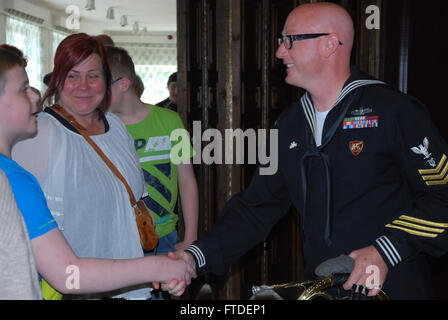 150709-N-ZZ999-044 LIHULA, Estonia (July 9, 2015) Musician 1st Class Anthony Smouse, assigned to the U.S. Naval - Stock Photo