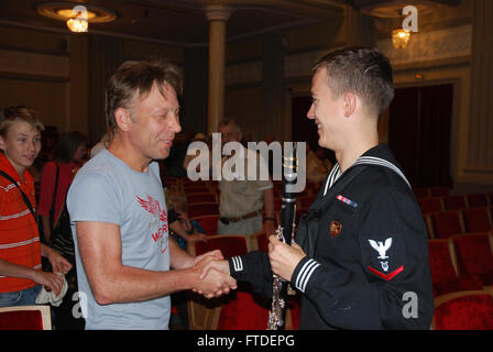 150710-N-ZZ999-098 SILLAMÄE, Estonia (July 10, 2015) Musician 3rd Class Alex Ford, assigned to the U.S. Naval Forces - Stock Photo