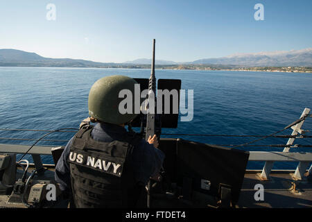 150713-N-FQ994-037 SOUDA BAY, Greece (July 13, 2015) Gunner's Mate 2nd Class Megan Leary, from Syracuse, New York, - Stock Photo
