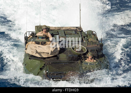 151028-N-JO245-924 MEDITERRANEAN SEA (Oct. 28, 2015) An amphibious assault vehicle from the 26th Marine Expeditionary - Stock Photo