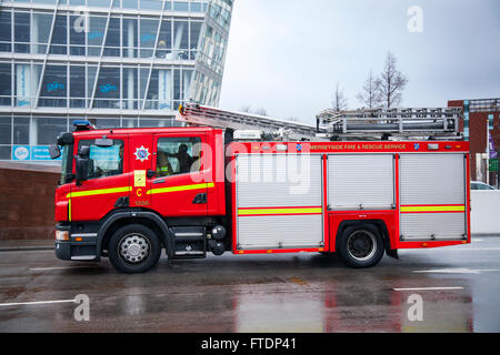 Merseyside Fire & Rescue, fire, truck, emergency, vehicle, rescue, car, firefighter, safety, engine, red, fire truck, - Stock Photo
