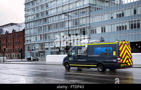 Command Support Unit Vehicle Merseyside Fire & Rescue, on the Strand, Liverpool, UK - Stock Photo