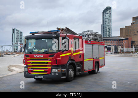 DK 57 FKZ Scania Merseyside Fire & Rescue, emergency vehicle, rescue firefighter, safety, engine, red fire truck, - Stock Photo